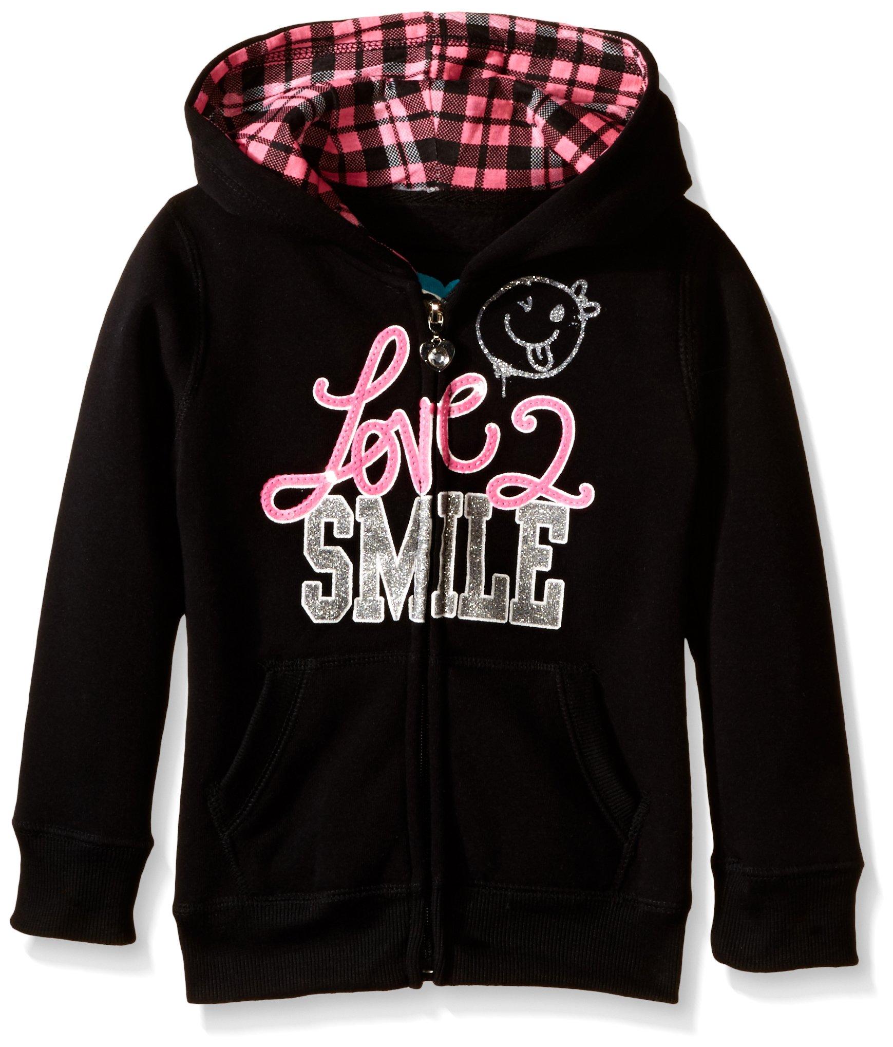 Pink House Little Girls' Love 2 Smile Fleece Hoodie, Black, 4