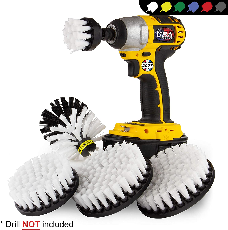 Kayak - Boat Accessories - Drill Brush - Car Wash Kit - Soft White Bristle Drill Brush - Wheel Rim Brush - Jet Ski - Automotive Seat, Carpet, Interior, Upholstery, Vinyl, Fabric, Leather Cleaner