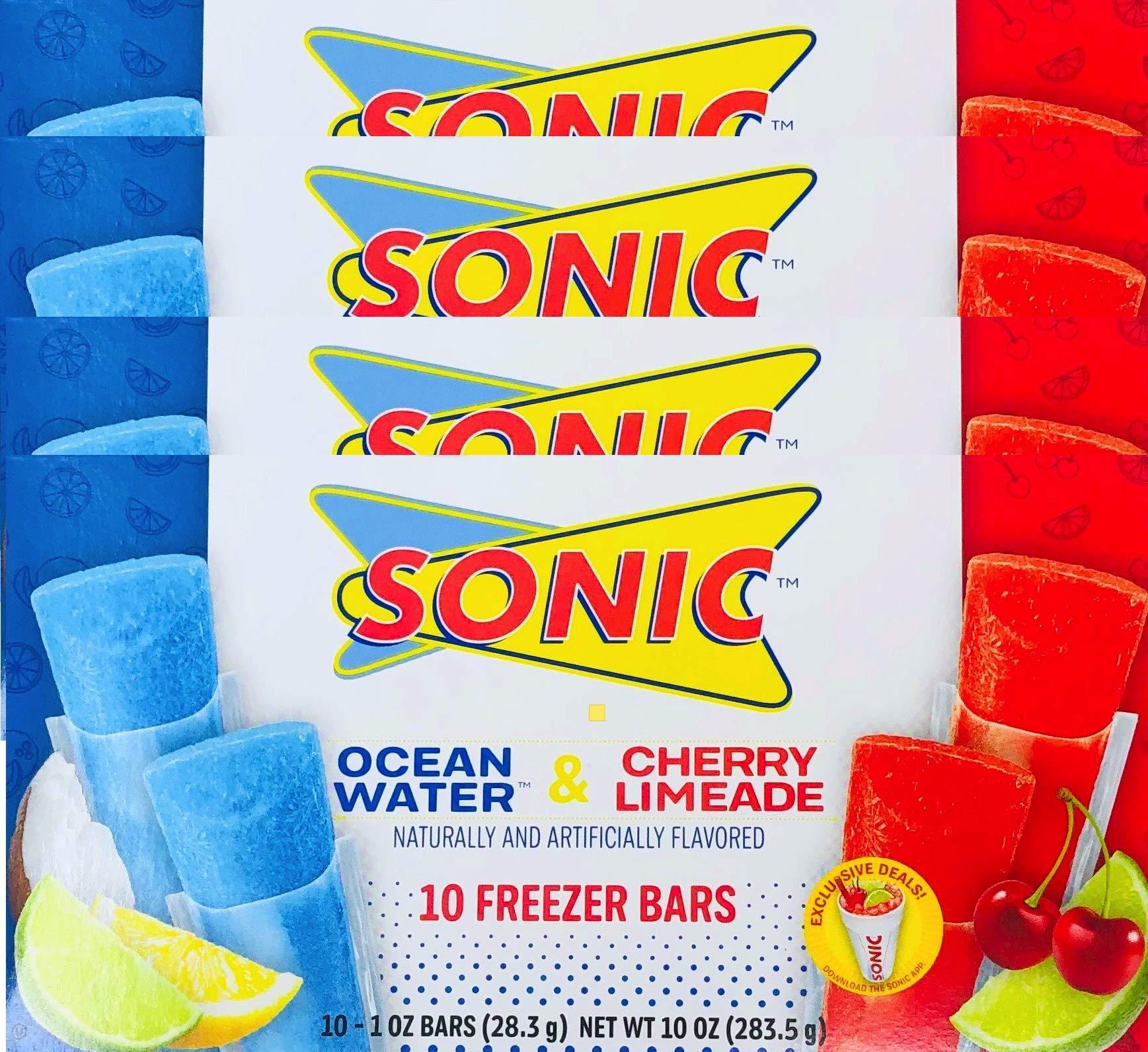 NEW Sonic Freezer Bars Ocean Water & Cherry Limeade 10- 1 oz Bars (4)