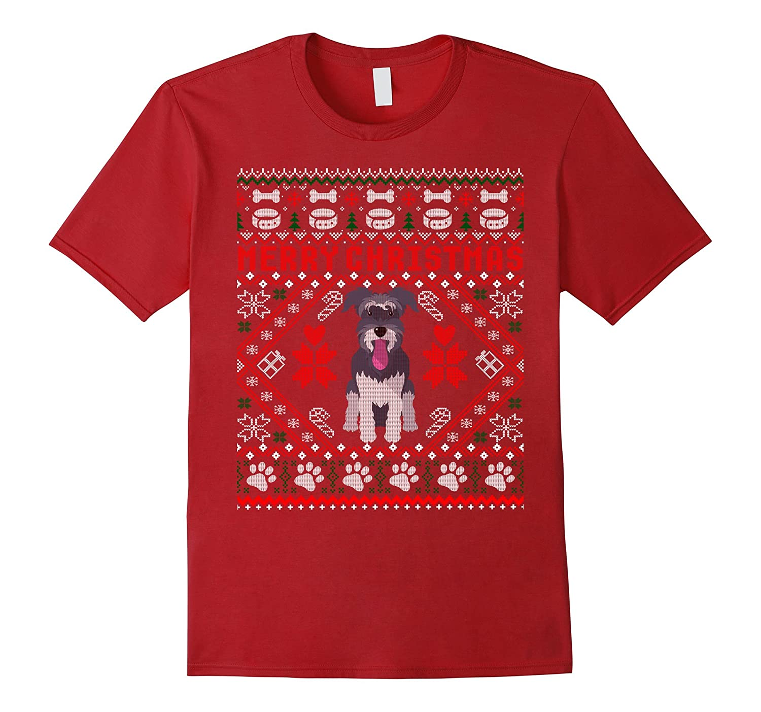 Schnauzer Dog Merry Christmas Ugly Xmas Sweater T-Shirt-ANZ