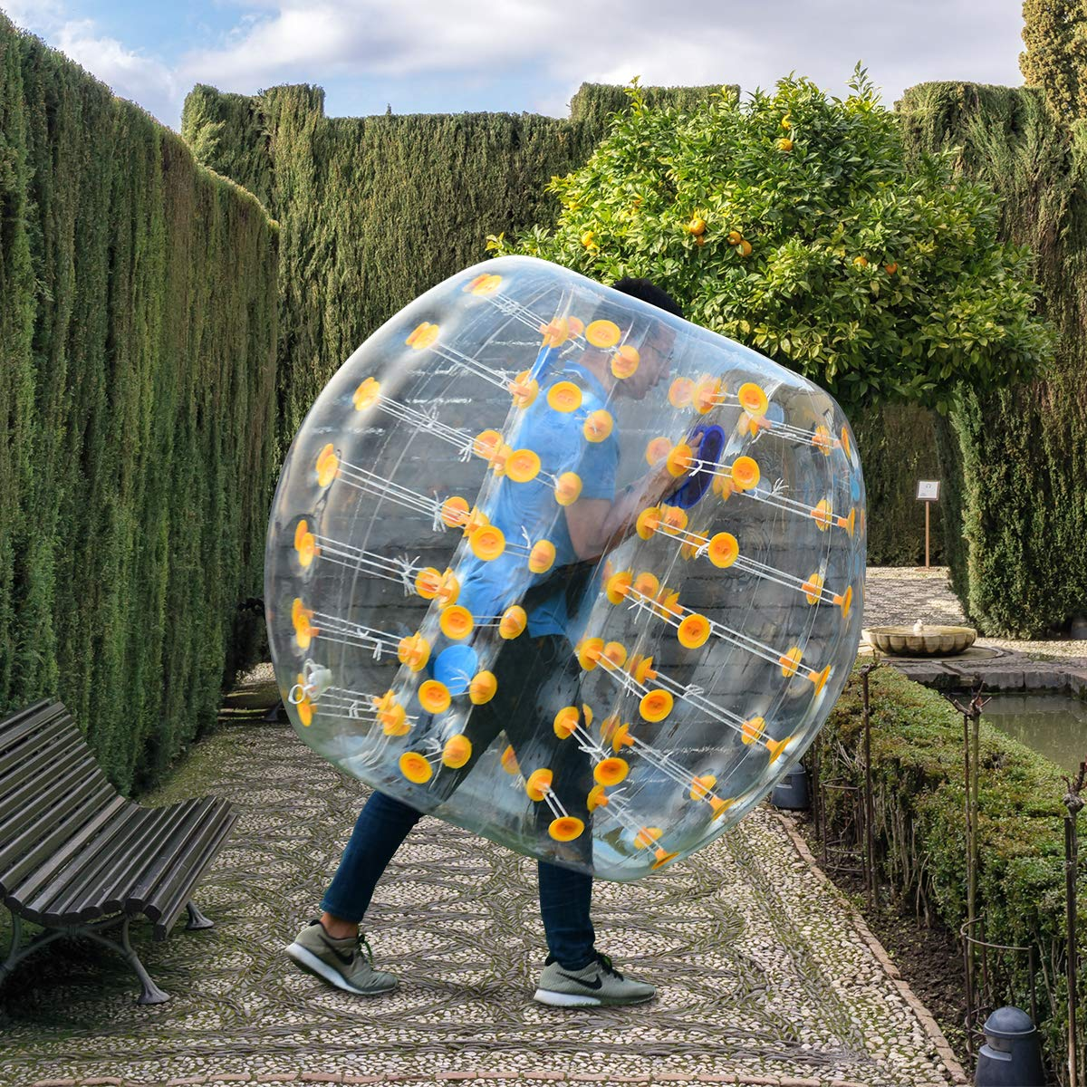 Costzon Inflatable Bumper Soccer Ball, Dia 5ft (1.5m) Giant Human Hamster Bubble Ball, 8mm Thickness Transparent PVC Zorb Ball for Kids, Teens Outdoor Team Gaming Play (Yellow)