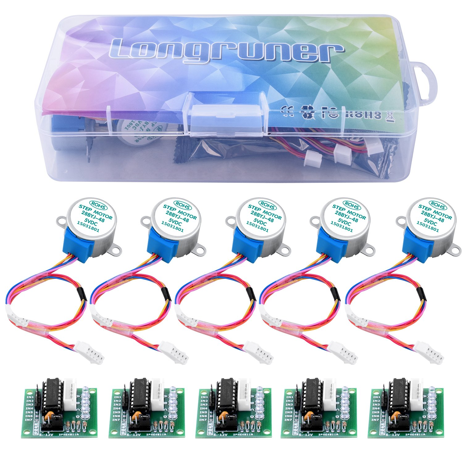 longruner 5pcs Geared Motor Paso a Paso 28BYJ 48/ ULN2003/ 5/ V Motor Paso a Paso ULN2003/ Driver Board para Arduino 5pcs Uln2003 Stepper Motor+5pcs Driver Board+10pcs Jumper Wires