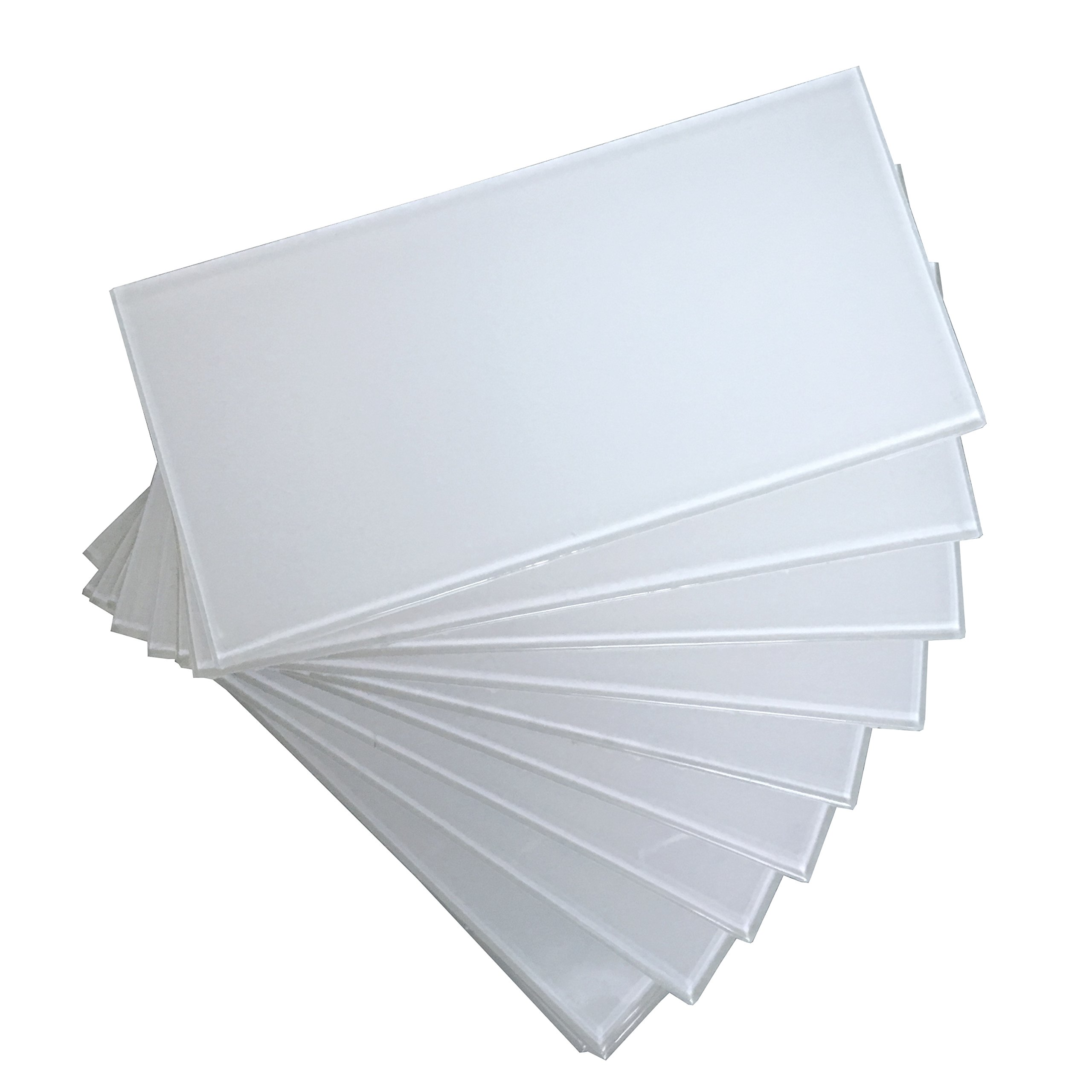 Art3d 32-Piece Peel and Stick Backsplash Glass Tile for Kitchen or Bathroom, 3'' x 6'' Subway White Backsplash Tiles