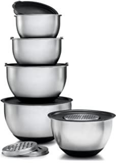 Amazon.com: VonShef Nested Mixing Bowl Set With Lids, Non Slip ...