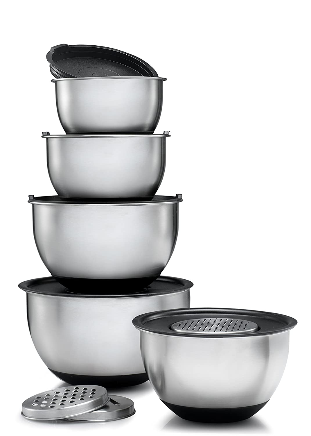 Sagler Stainless Steel Mixing Bowls Set of 5, with Lids and 3 kind of graters 4212
