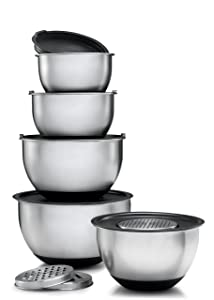 Sagler Stainless steel Mixing Bowls Set of 5 with 3 kind of graters mixing bowls with lids