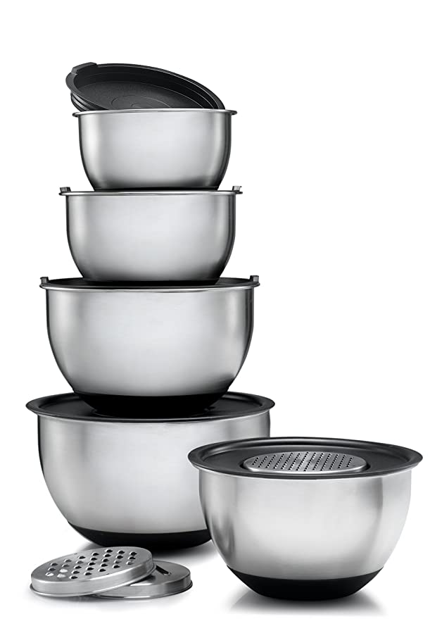 Sagler Stainless Steel Mixing Bowls Set of 5, with Lids and 3 kind of graters Graters & Slicers at amazon