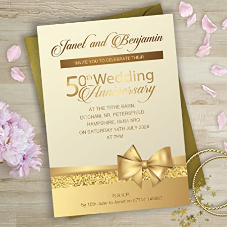 Golden Wedding Anniversary Invitations Bow And Glitter Design G9p