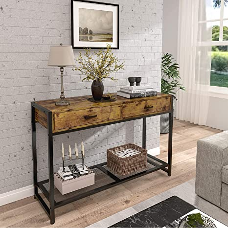 2 Shelf Console Table 2 Tier for Entryway Dark Brown Farmhouse Rustic Entryway Table Narrow Long with Bottom Shelf for Hallway Foyer Living Room Solid Wood