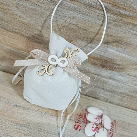 Bomboniere Semplici Per Matrimonio.Sindy Bomboniere Sacchetto Per Confetti Bianco Con Simbolo Dell