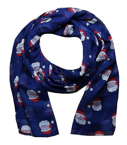 Mujer Bufandas con Estampado de Navidad Papá Noel (Azul marino)