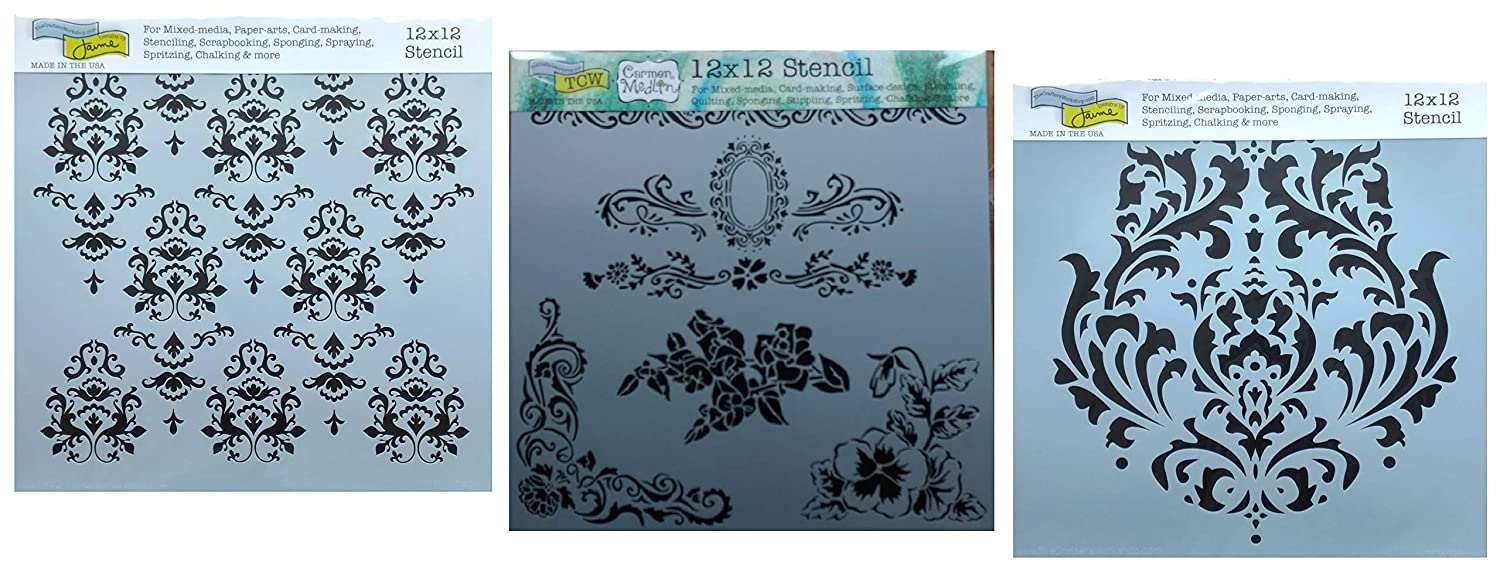 3 Victorian Style Damask Themed Stencils | Large Mixed Media Stencil Set for Arts, Card Making, Journaling, Scrapbooking | 12 Inch x 12 Inch Templates | by Crafters Workshop The Crafters Workshop