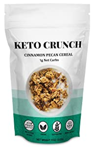 Keto Crunch - Cinnamon Pecan Cereal | Grain & Gluten-Free, Low Carb Granola Healthy Cereal | Highest Quality Ketogenic Breakfast & Snacks | 11oz. (312G) - 1g Net Carbs