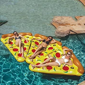 DMGF Inflables Pool Float Raft Pizza Shape Loungers Giant Summer Flotadores De Natación Al Aire Libre Beach Water Sport Toy Para Adultos Niños,3Pieces: ...