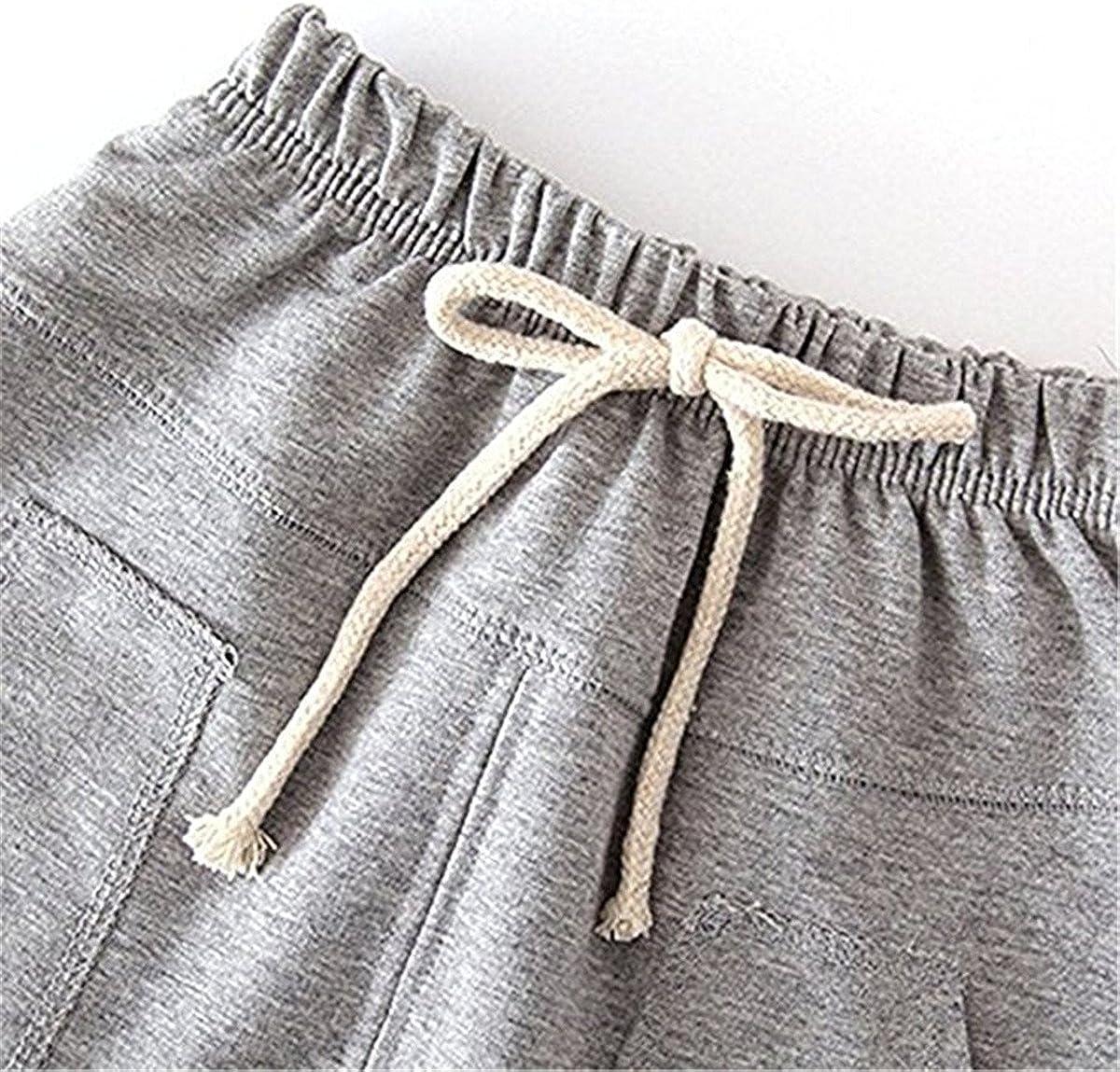 REWANGOING 2 Pack of Little Baby Boys Girls Cotton Hiphop Harem Pants Infant Sport Jogger