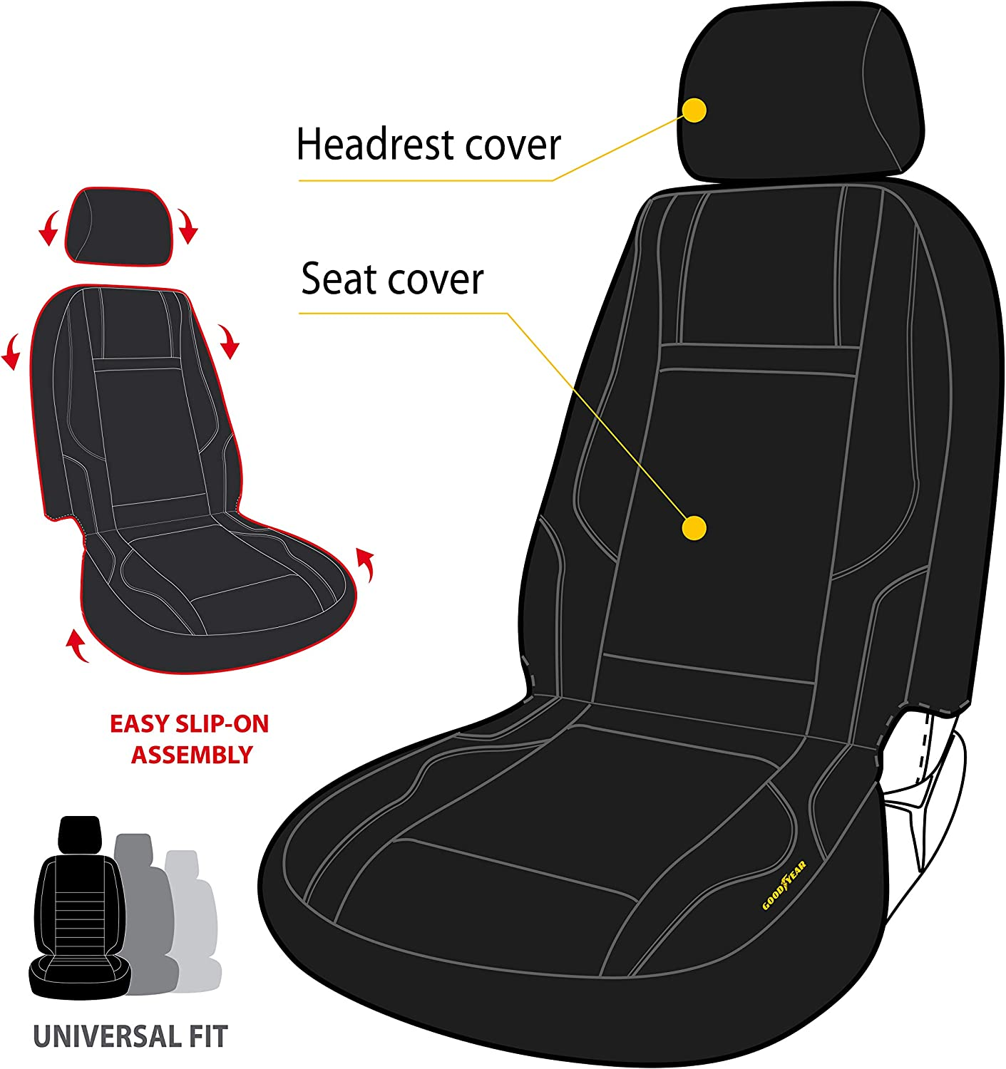 "Goodyear GY1247 \ Water Resistant Car Seat Cover \ 100/% Pure Neoprene Fabric for Maximum Protection \ Fits Most Vehicles \ Headrest Cover 10/""H x 11/""W \ Seat 46/""H x 18/""W \ Side Airbag Compatible"