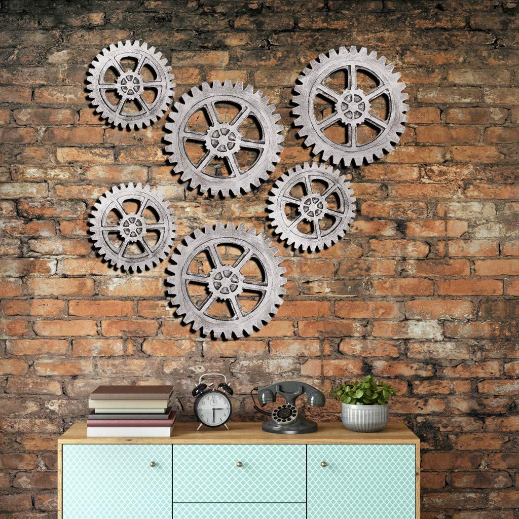 LhiverFR Vintage en Bois Steampunk engrenage d/écoration Murale pour la Maison Bar Art Artisanat Ornements Stickers muraux CL19-silver-24CM