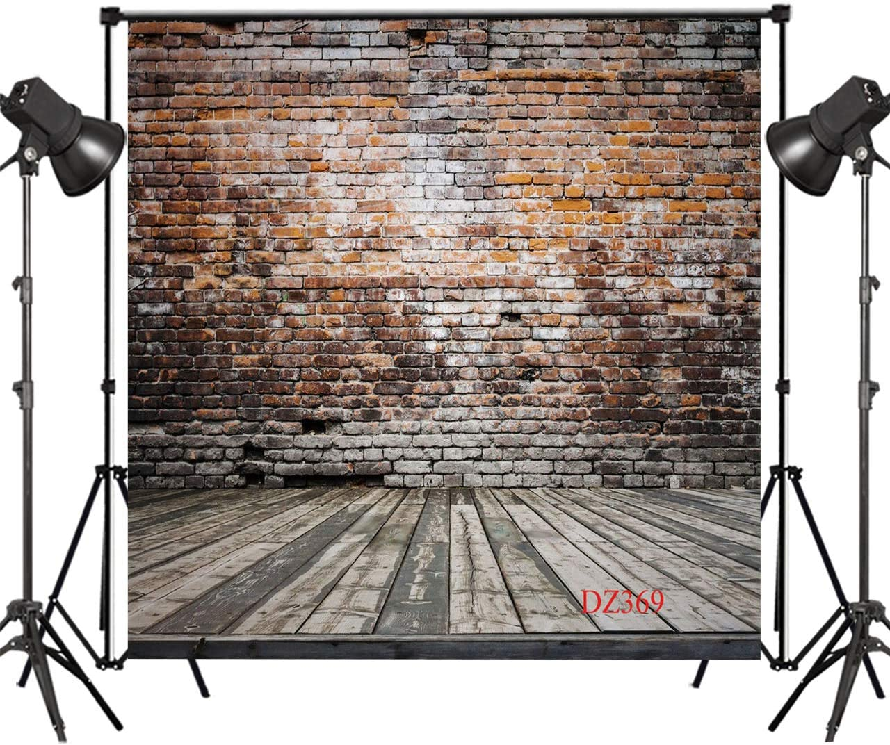 LB Vintage Brick Wall Backdrops for Photography 10x10ft Rustic Wood Floor Photo Background Birthday Party Decorations Customized Portrait Photo Shoot Studio Props DZ369