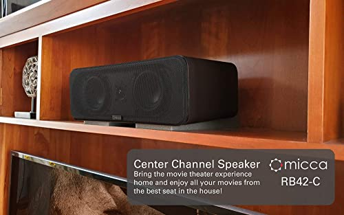 Micca RB42-C Center Channel Bookshelf Speaker with 4-Inch Woofers and Silk Tweeter Dark Walnut, Each