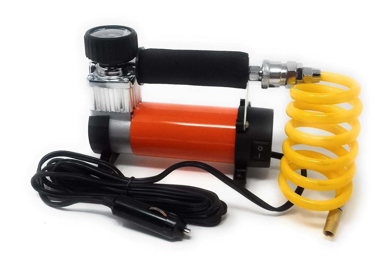 Compresor de Aire con manómetro para inflar ruedas coche, moto Naranja Mechero: Amazon.es: Coche y moto