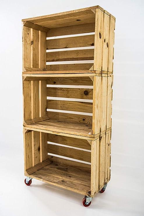 Estantería con 3 Cajas de Madera Natural Tipo Fruta Vertical con Ruedas Rojas Sam, Cajas Naturales, Beige, 50x32x110CM. Incluye Imán Personalizable de Madera.: Amazon.es: Hogar