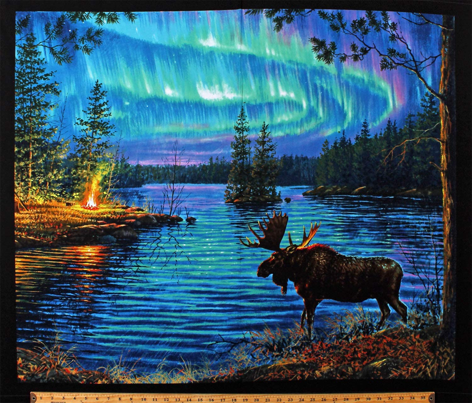 "35"" X 44"" Panel Moose Northern Lights Northwoods Landscape Campfire Aurora Borealis Camping Lake Nature Scenic Cotton Fabric Panel (D762.46)"