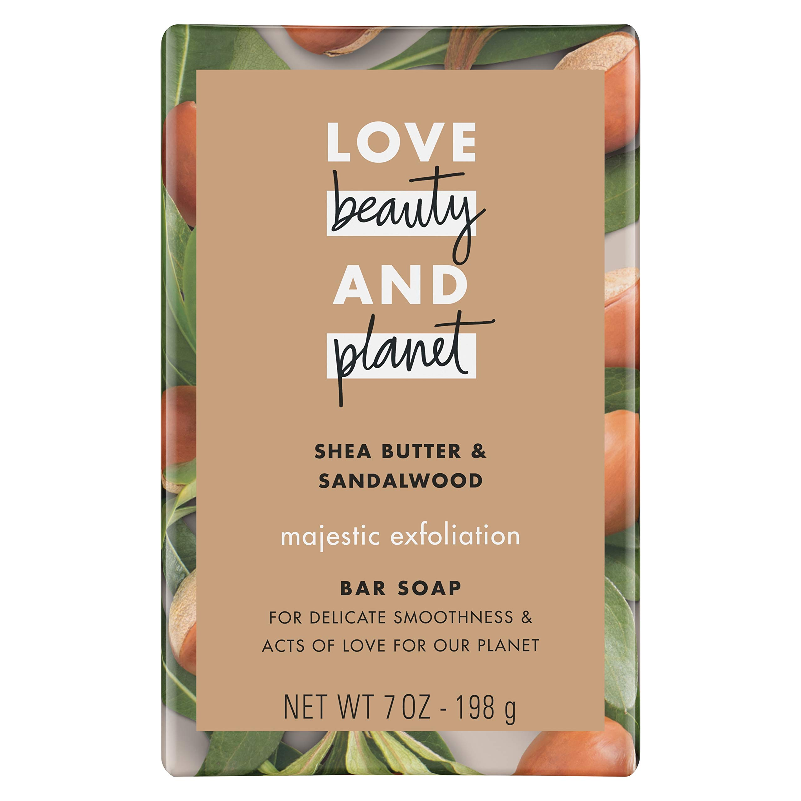 Love Beauty And Planet Majestic Exfoliation Bar Soap Shea Butter & Sandalwood, 7 oz, Pack of 3