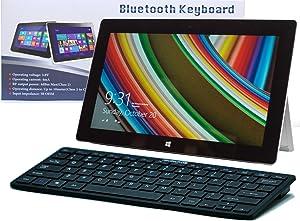 Navitech Black Slim Wireless Windows Bluetooth Keyboard Compatible with The Dell Venue 8 Pro/Venue 11 Pro