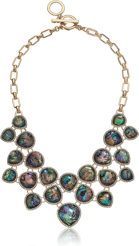 Anne Klein Collar Shaky para mujer con abulón azul y piedras de cristal engastadas en tono dorado
