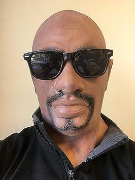 REALISTA Negro Hombre Hombre Látex Caucho Máscara Negro Hombre Disfraz Disfraz de Halloween Perilla barba