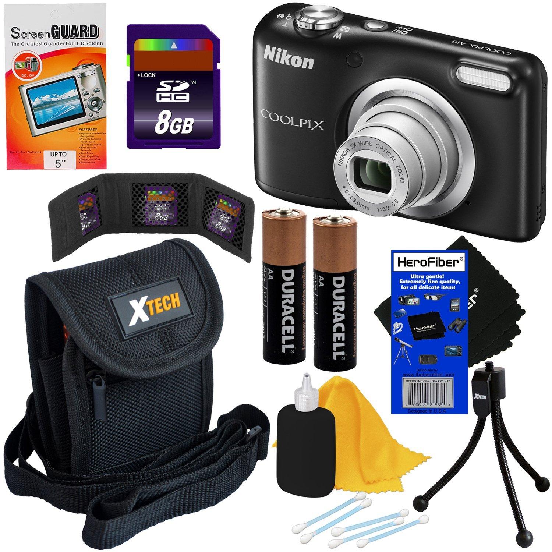 Nikon COOLPIX A10 16.1 MP Digital Camera with 5x Zoom NIKKOR Lens & 720p HD Video, Black - International Version (No Warranty) + 7pc Bundle 8GB Accessory Kit w/ HeroFiber® Ultra Gentle Cleaning Cloth
