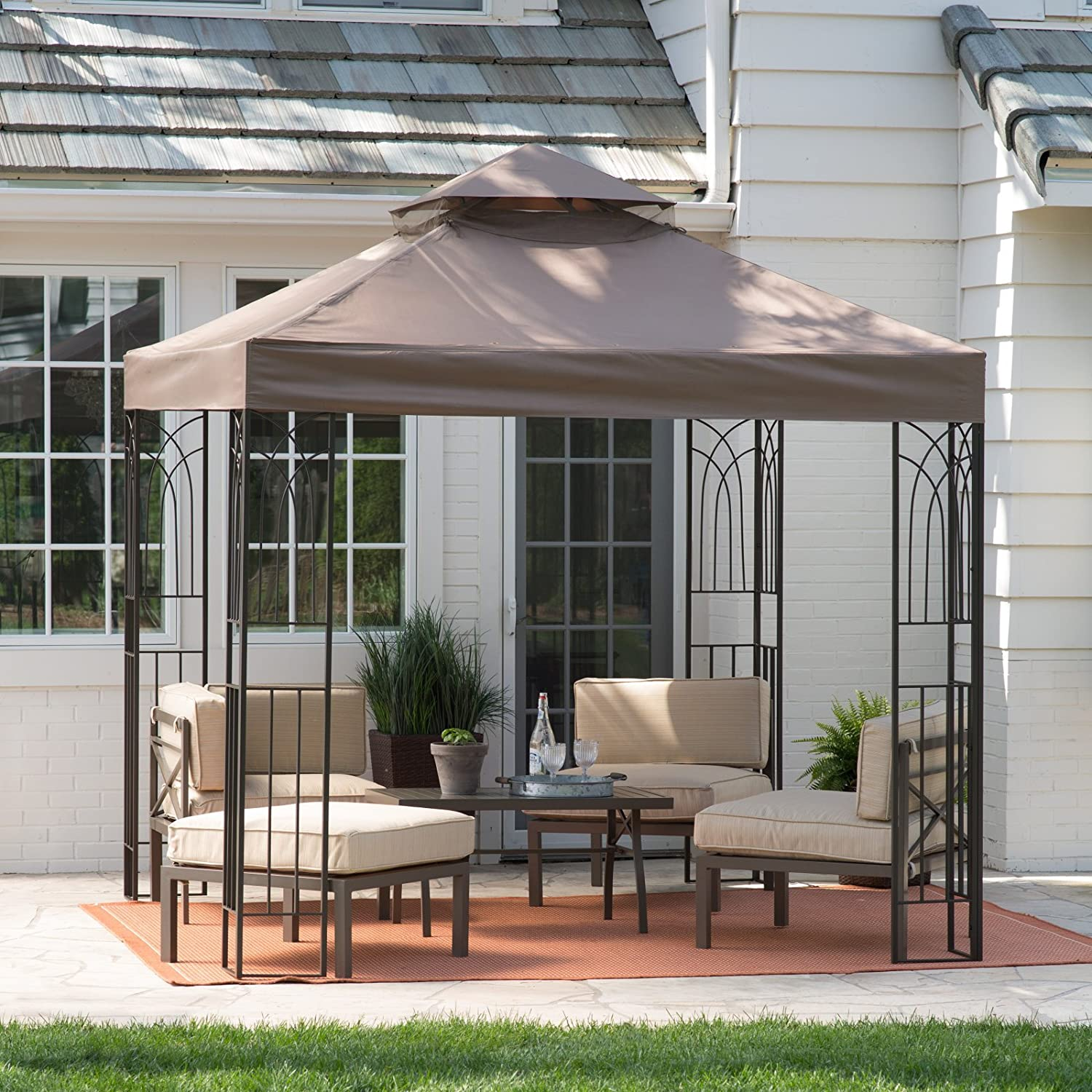 Amazon Coral Coast Prairie Grass 8 x 8 ft Gazebo Canopy