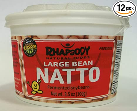 Fresh NATTO, Made in Vermont - Sticky Fermented Certified Organic Soy Beans, 3.5 oz - Case of 12