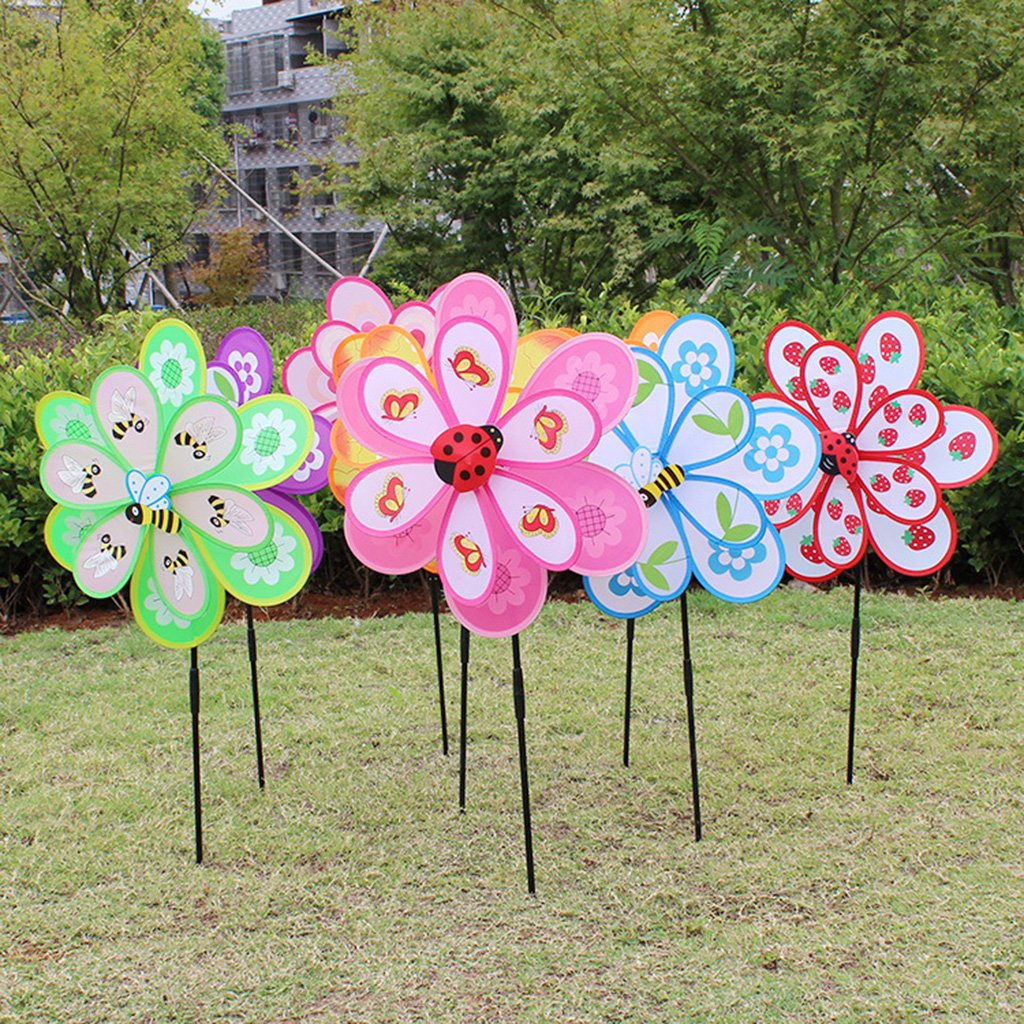Lottoy Colorful Large Plastic Pinwheel, Lawn Pinwheels, Party Pinwheels Windmill, DIY Pinwheels Set for Kids Toy Garden Lawn Decor,1PC Random Color Lottoy®