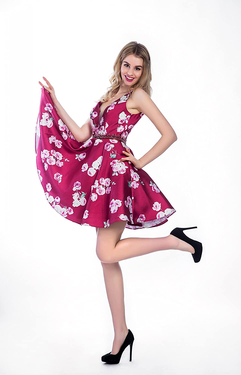 Sweetdress Printed Short Homecoming Dress Print Flower Party Cocktail Gown