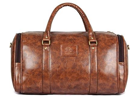 The Clownfish Wayfarer Leatherette 30 LTR Brown Travel Duffel Bag ... a1303be0bc1e3