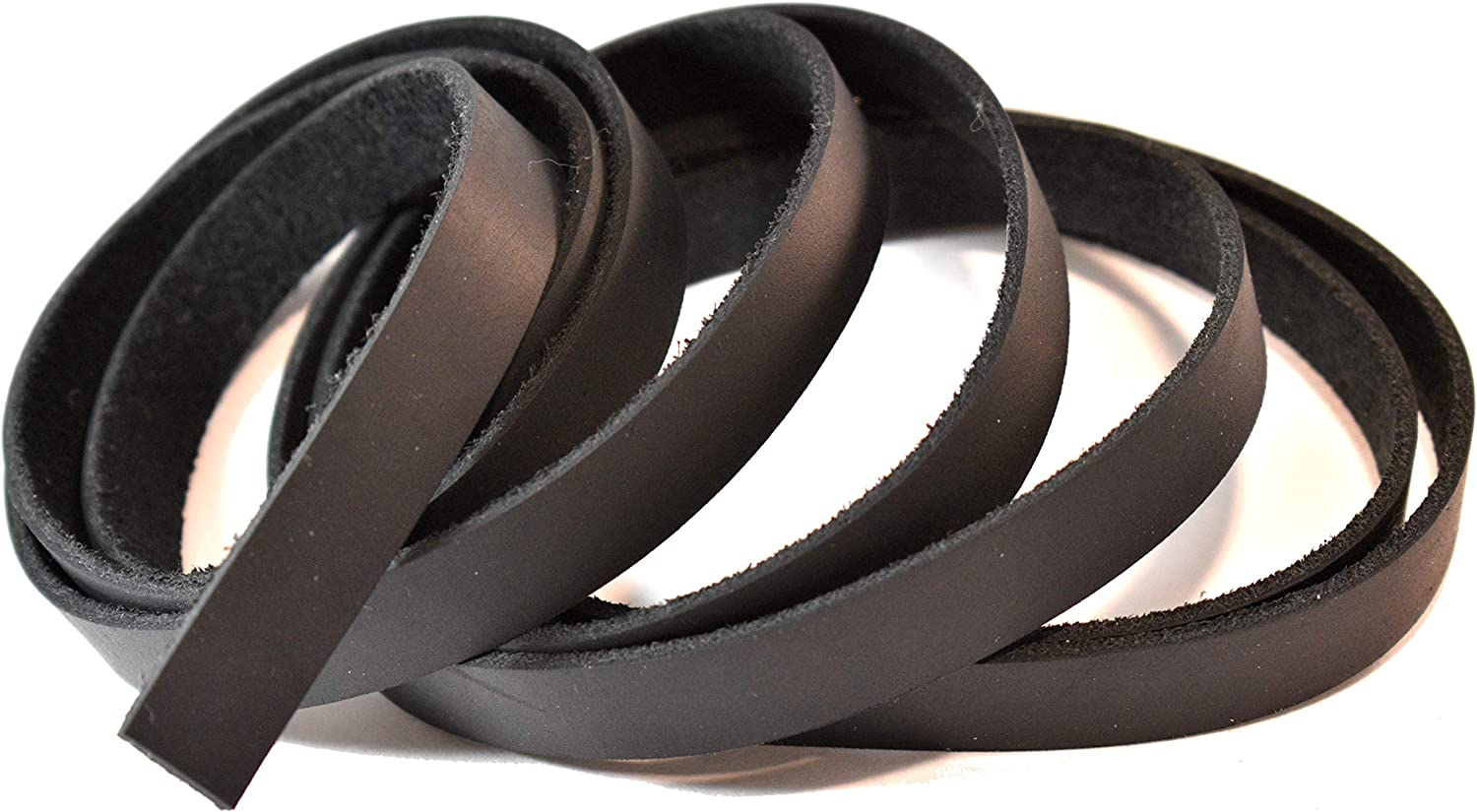 Leatherrush 5-6 Ounce Oil-Tanned Leather Strip Strap Black 5//8 x 84 Inch