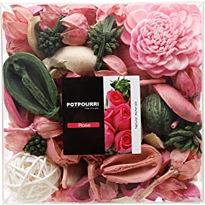 Qingbei Rina Gift Rose Scent Potpourri Bag Clear Gift Box, Dried Flower Bowl and Vase Filler, Home Fragrance Perfume Sachet,Good for Filling a Bowl of 33 Fl-oz (Pink)