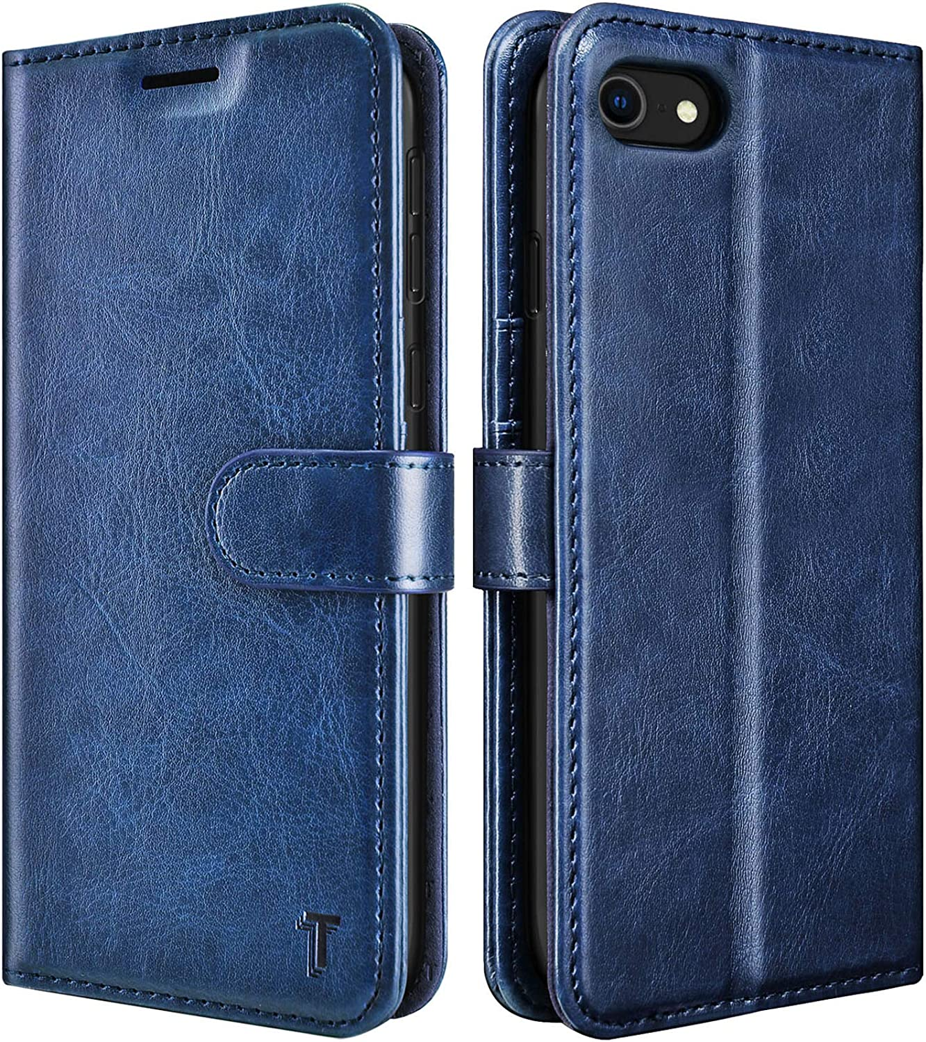 Tekcoo Wallet Case for iPhone SE 2020 / iPhone 7 / iPhone 8 (4.7 inch) Premium Vegan Leather [RFID Blocking] Luxury ID Cash Credit Card Slots Holder Carrying Pouch Folio Flip Cover Cases [Navy Blue]