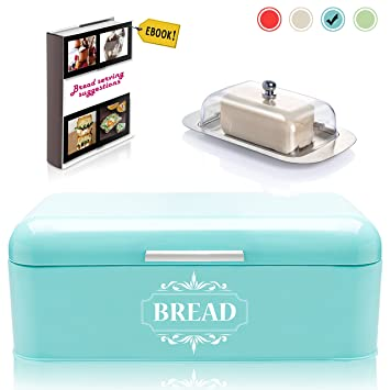 Vintage Bread Box For Kitchen Stainless Steel Metal In Retro Turquoise Blue  + FREE Butter Dish