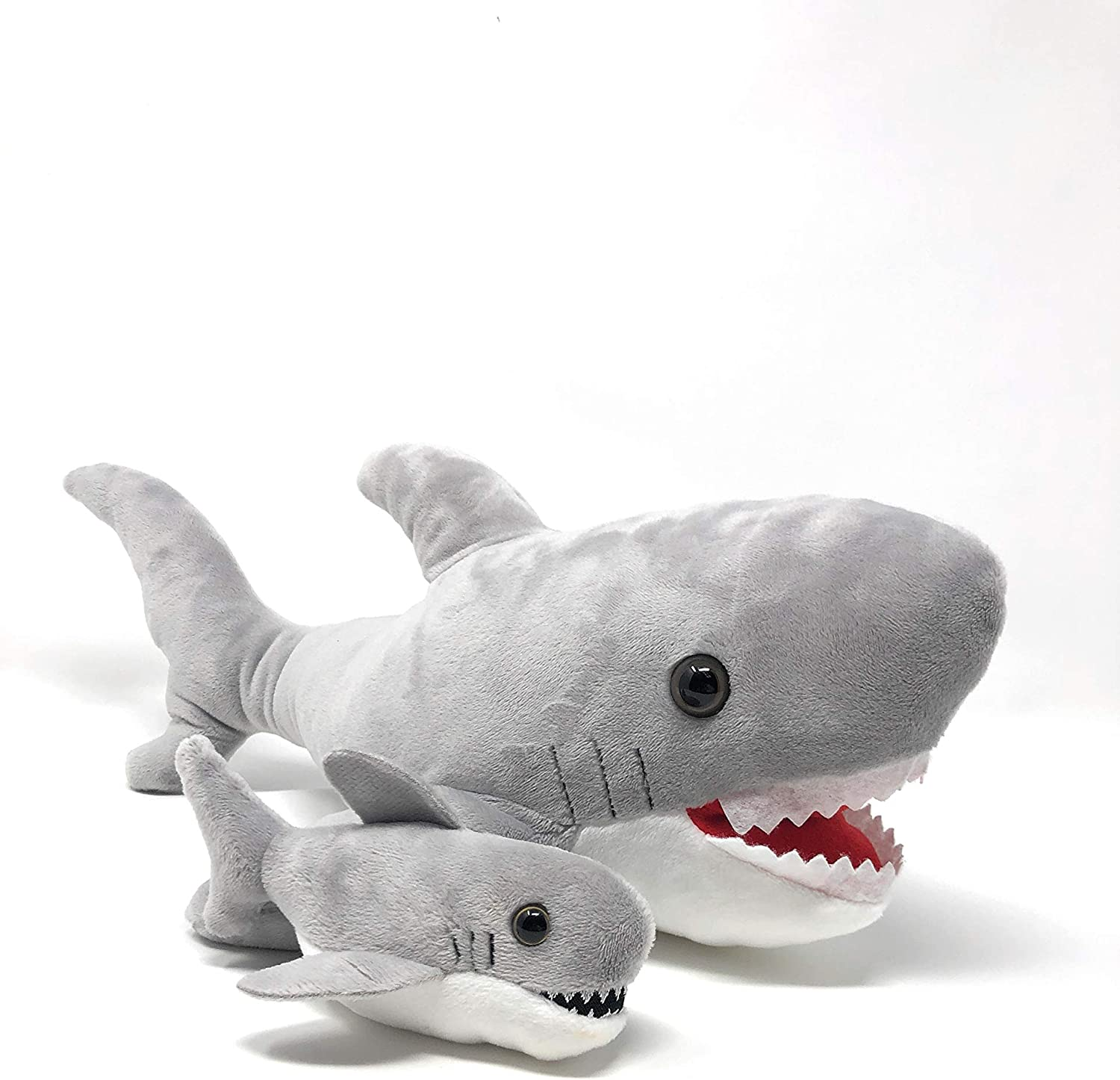 Soft Plush Shark With Pouch And Mini Pup, 16 Inches