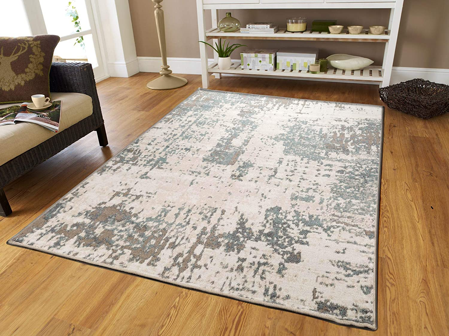 Distressed Gray Rugs for Living Room 5x7 Gray Rugs with Natural Jute Backing 5'x8'