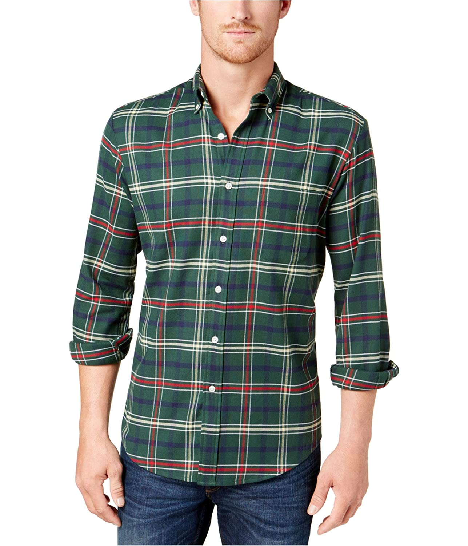 Club Room Mens Plaid Stretch Button Up Shirt