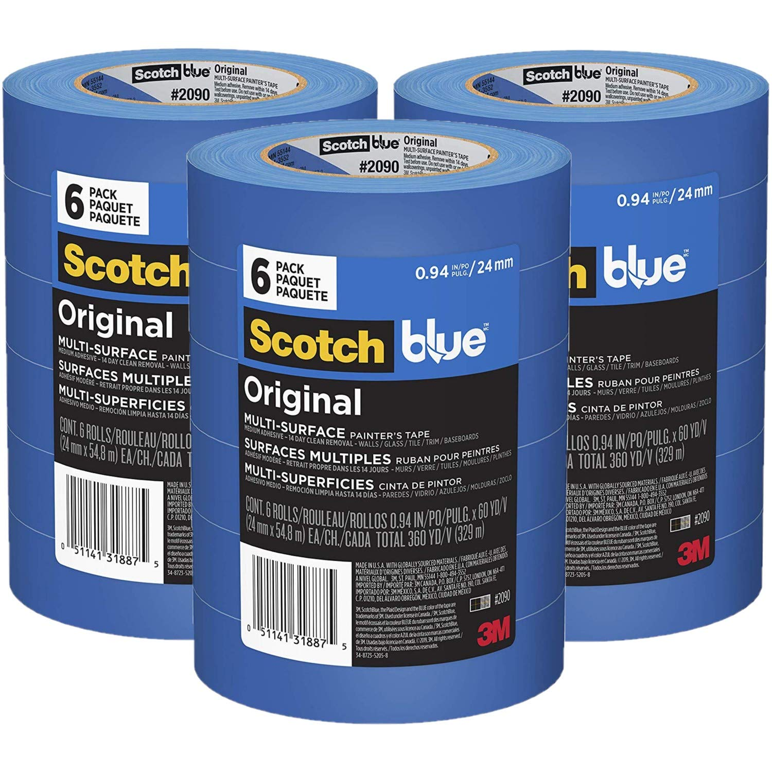 ScotchBlue Original Multi-Surface Painter's Tape.94 inch x 60 Yard, 2090, 18 Rolls by 3M