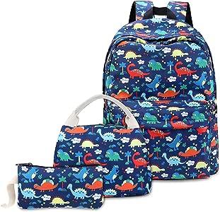 Mochilas Escolares Niño Chico, Mochila Escolar con Bolsa Almuerzo Estuche de Lápices (Dinosaurioa Azul): Amazon.es: Equipaje