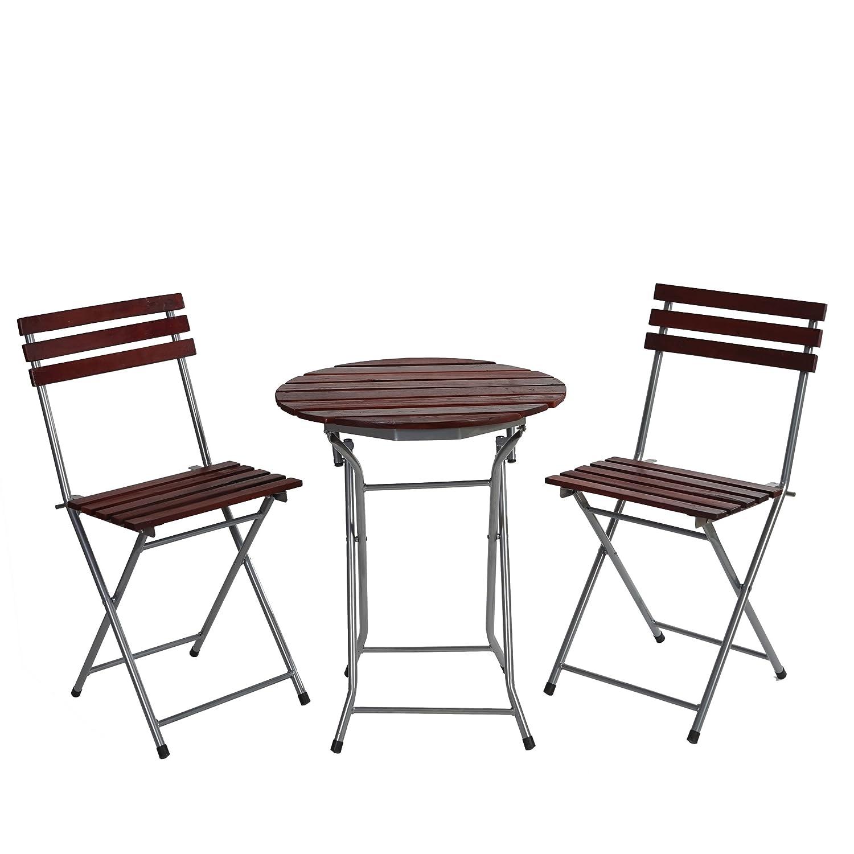 SSITG Biergarten-Garnitur Garmisch, Bistro-Set Garten-Set Tisch+Stühle, geölt