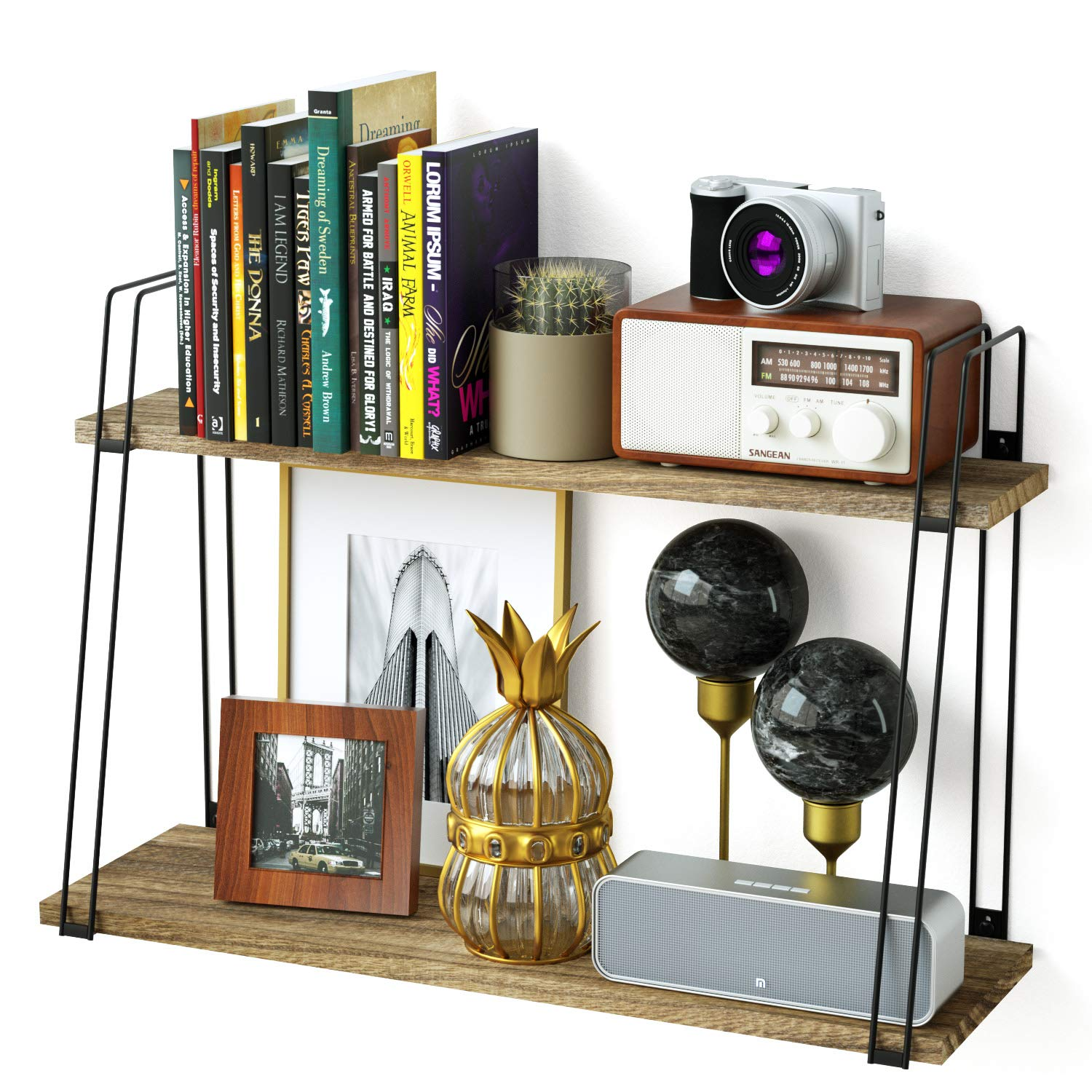. SRIWATANA Rustic Floating Shelves  2 Tier Wood Wall Shelves with Superior  Bearing Capacity for Bedroom  Living Room  Dining Room and More