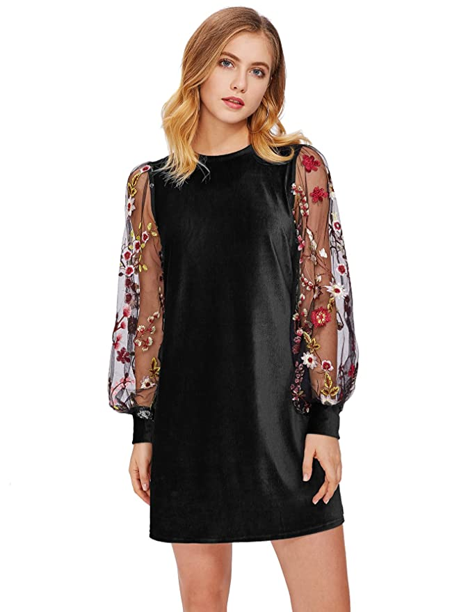 Vintage Evening Dresses and Formal Evening Gowns DIDK Womens Tunic Dress with Embroidered Floral Mesh Bishop Sleeve $20.99 AT vintagedancer.com