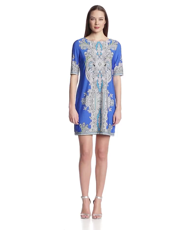 Sandra Darren Womens Elbow Sleeve Printed Dress
