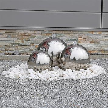 Edelstahl Springbrunnen ESB2 Mit 3 Aufwendig Polierten Edelstahl Kugeln Und  LED Beleuchtung Zierbrunnen Für Den Garten